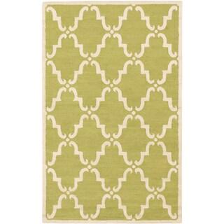 Marrakech Cream Light Green Open Field Rug (5'0 x 8'0)