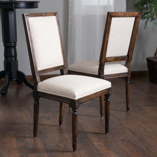 Madison Weathered Oak Fabric Dining Chair (Set of 2) by Christopher Knight Home