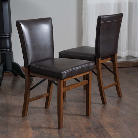 Lane Bonded Leather Folding Dining Chair (Set of 2) by Christopher Knight Home