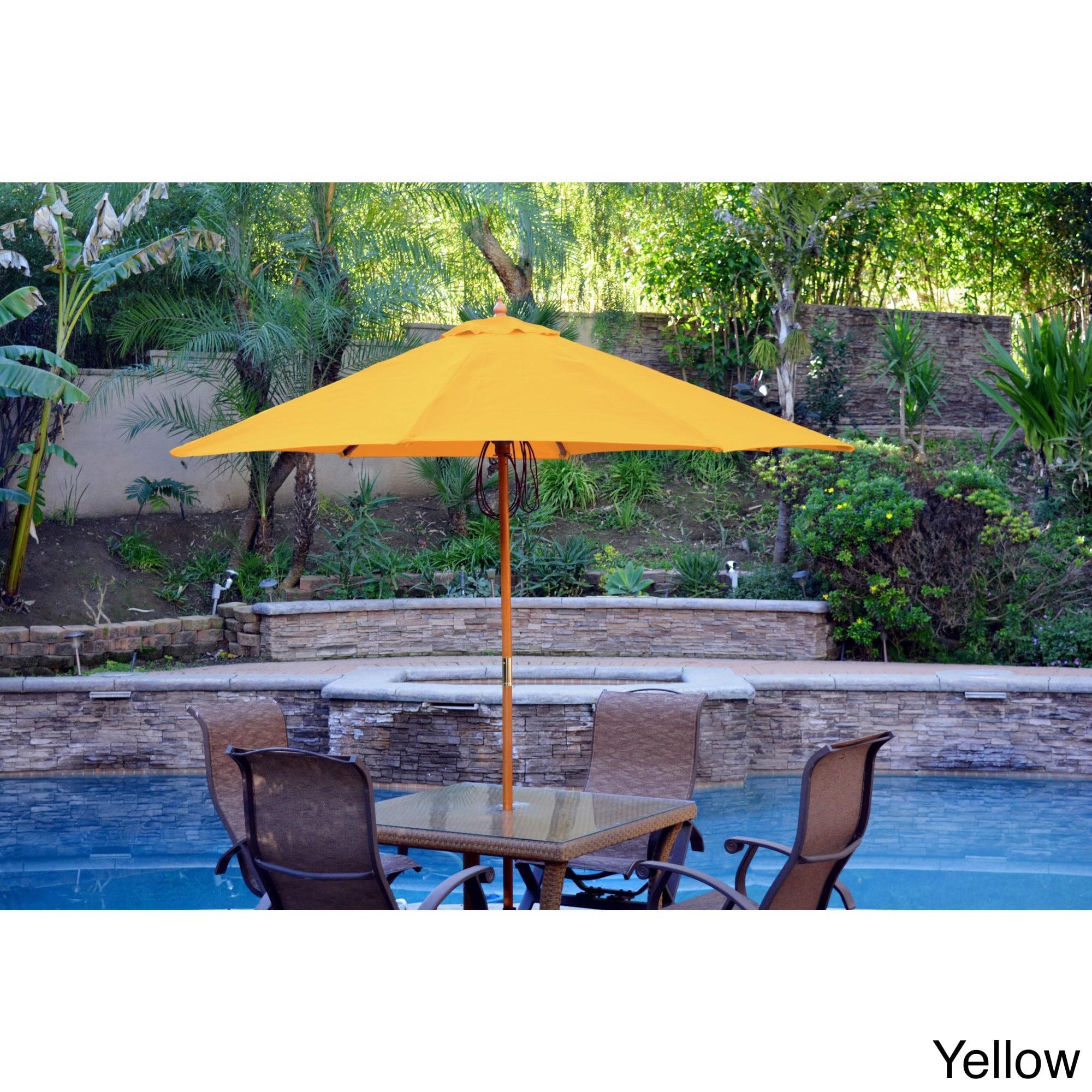 Jeco 9 foot Wood Market Patio Umbrella