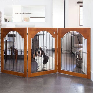 Majestic Pet 3-panel Solid Wood and Wire Freestanding Pet Gate