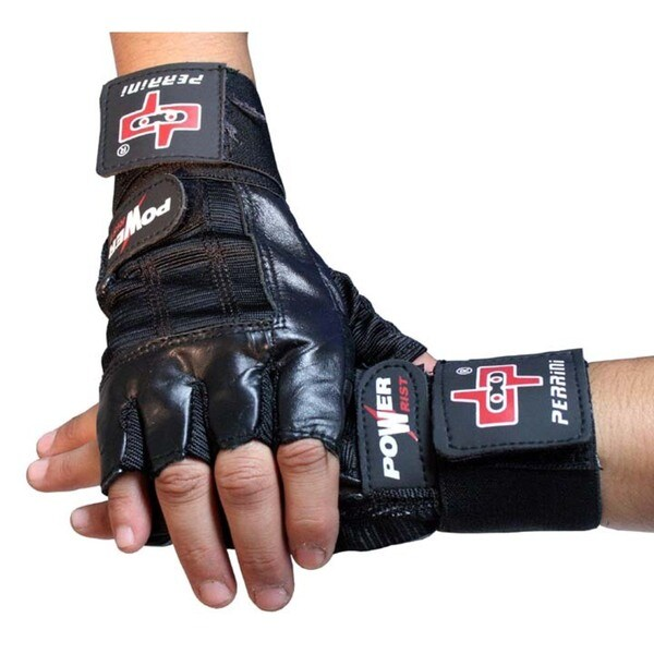 Black Leather Work Out/ Weight Lifting Fingerless Gloves with Strap