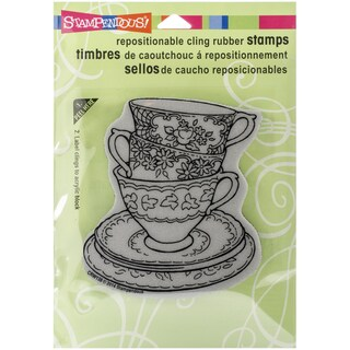 "Stampendous Cling Rubber Stamp 5.5""X4.5"" Sheet-Teacup Trio"