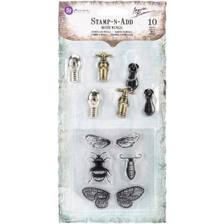 Stamp-N-Add Stamp & Metal Embellishment Set-Moth Wings