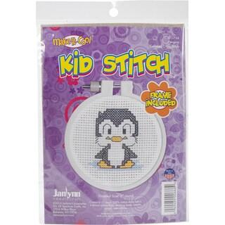 "Kid Stitch Penguin Mini Counted Cross Stitch Kit-3"" Round 11 Count"