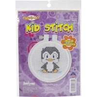 "Kid Stitch Penguin Mini Counted Cross Stitch Kit-3"" Round 11 Count"
