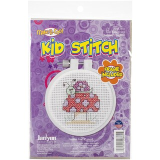 "Kid Stitch Snail & Mushroom Mini Counted Cross Stitch Kit-3"" Round 11 Count"