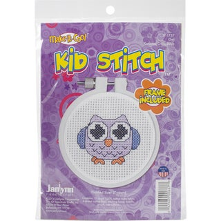 "Kid Stitch Owl Mini Counted Cross Stitch Kit-3"" Round 11 Count"