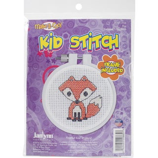 "Kid Stitch Fox Mini Counted Cross Stitch Kit-3"" Round 11 Count"