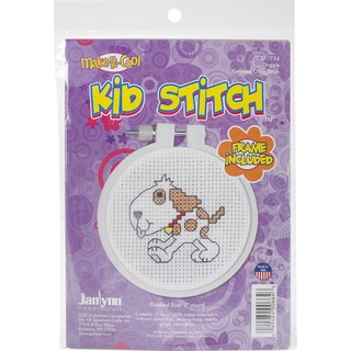 "Kid Stitch Doggie Mini Counted Cross Stitch Kit-3"" Round 11 Count"
