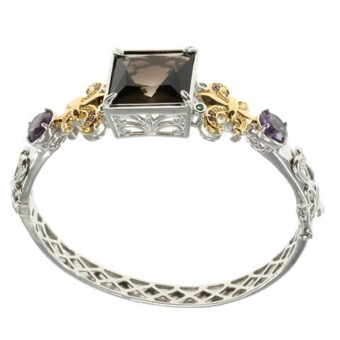 Dallas Prince Sterling Silver Smokey Quartz and Amethyst Bangle Bracelet