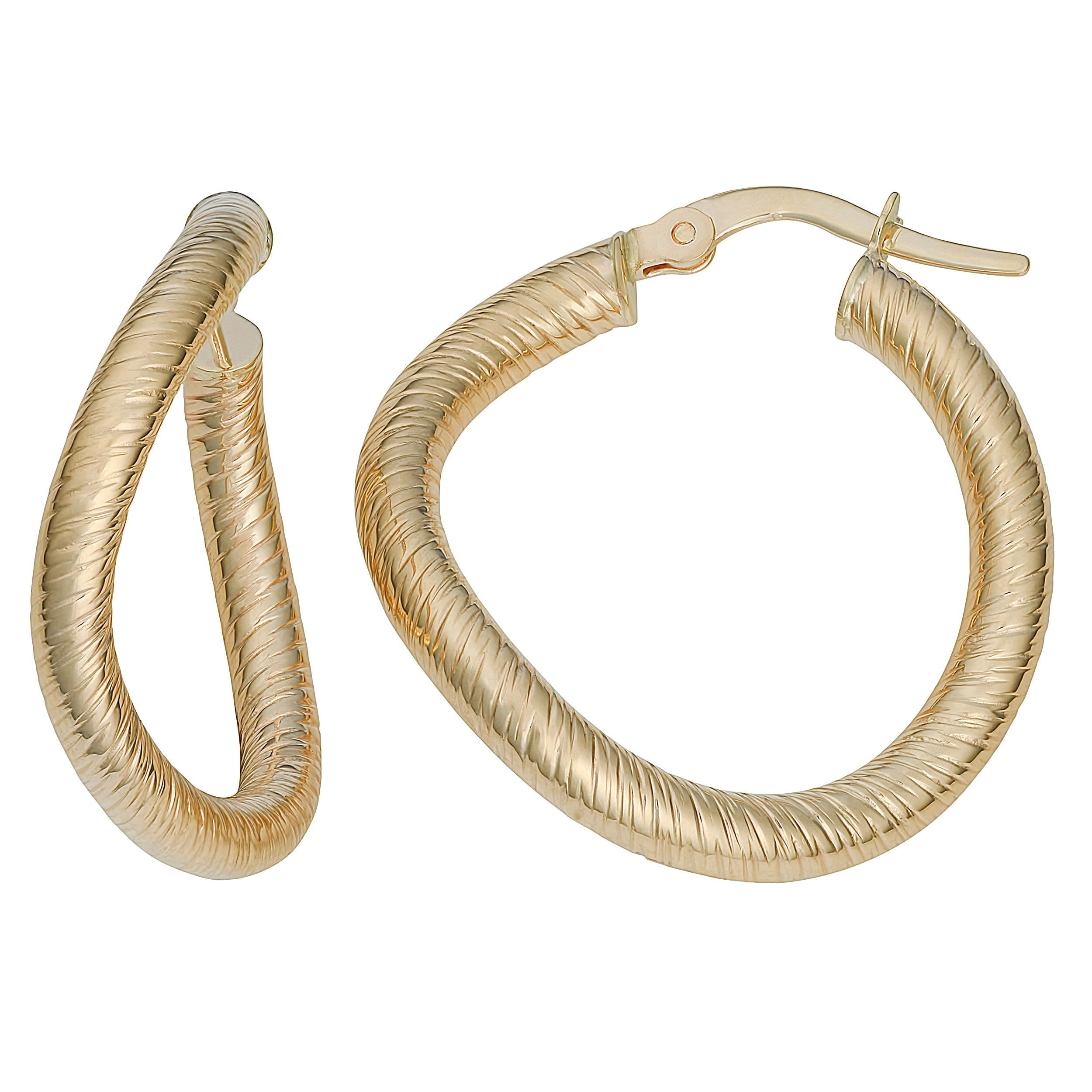 10K Yellow Gold Twisted 41mm Round Hinged Hoop Earrings