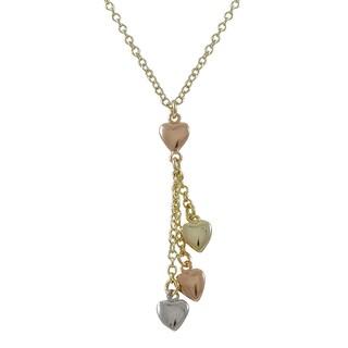 Luxiro Goldtone Tri-tone Hearts Lariat Necklace