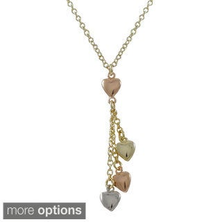 Luxiro Goldtone Tri-tone Hearts Lariat Necklace