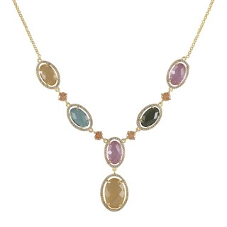 Luxiro Gold Finish Oval Glass Surrounded with Cubic Zirconia Y Necklace