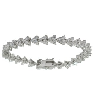 Luxiro Sterling Silver Cubic Zirconia Cluster Triangle Tennis Bracelet