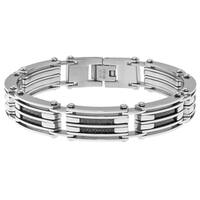Stainless Steel Men's Two-tone Carbon Fiber Bracelet