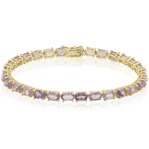 Dolce Giavonna Sterling Silver Gemstone Tennis Style Bracelet