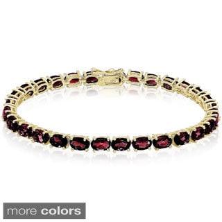 Dolce Giavonna Sterling Silver Oval Gemstone Tennis Bracelet