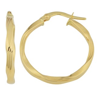 Fremada 18K Yellow Gold High-polish Ribbed Twist Hoop Earrings