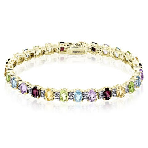 Dolce Giavonna Sterling Silver Multi-gemstone Diamond Accent Bracelet