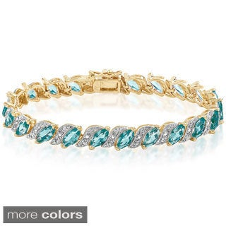 Dolce Giavonna Goldplated Simulated Blue Topaz Tennis Bracelet