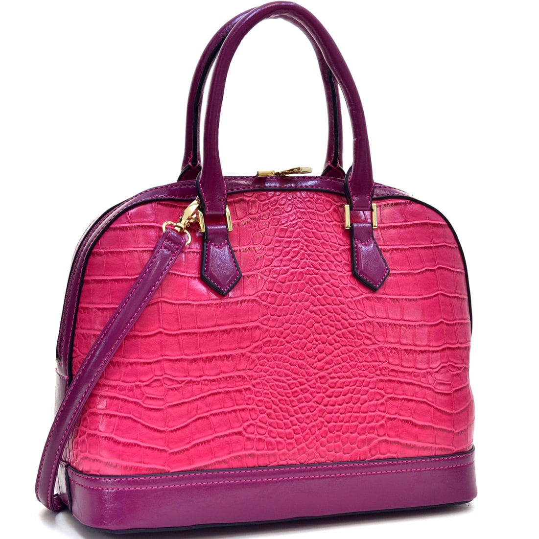 Dasein Faux Croc Hinge-handle Briefcase with Removable Sh...