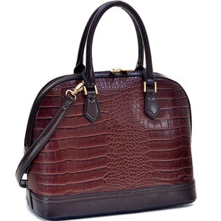 Dasein Faux Croc Hinge-handle Briefcase with Removable Shoulder Strap