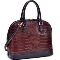 Dasein Faux Croc Hinge-handle Briefcase with Removable Shoulder Strap