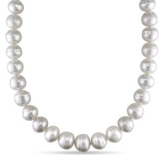 Miadora Signature Collection 14k White Gold South Sea Pearl and Diamond Accent Necklace (14-16 mm)