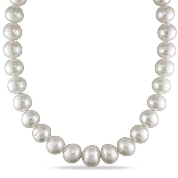 13d5daed1e4b6 Miadora Signature Collection 14k White Gold South Sea Pearl and Diamond  Accent Necklace (15 - 17.8 mm)