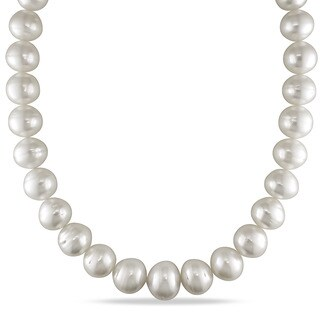 Miadora Signature Collection 14k White Gold South Sea Pearl and Diamond Accent Necklace (15 - 17.8 mm)