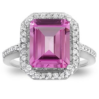 Bliss 14k White Gold 1/2ct TDW Diamond and Pink Topaz Vintage Halo Engagement Ring (I-J, I2-I3)