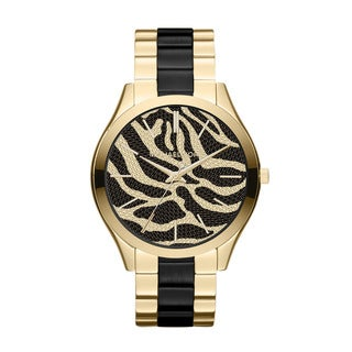 Michael Kors Women's MK3315 Slim Runway Goldtone Zebra Dial Watch