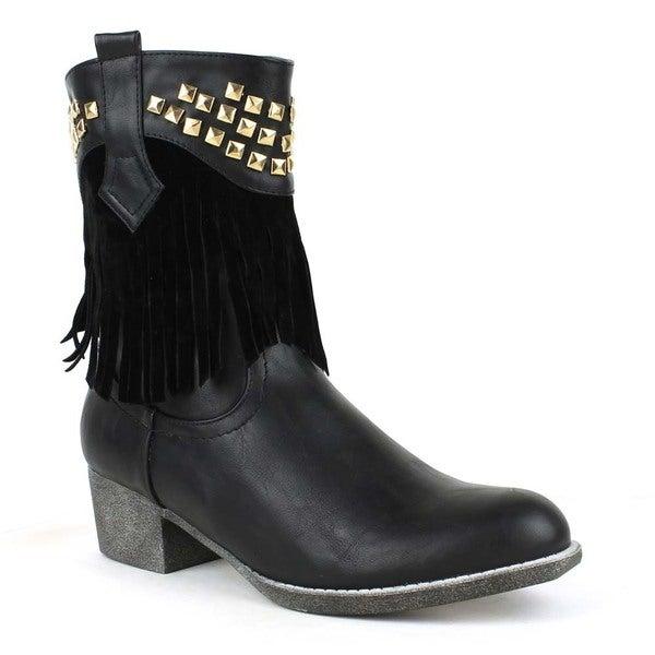 76116f8391f7e Shop Mark and Maddux Women's 'Poppy-06' Studded Fringe Western Boots ...