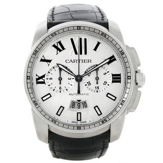 Cartier Men's W7100046 Calibre de Cartier Round Black Strap Watch