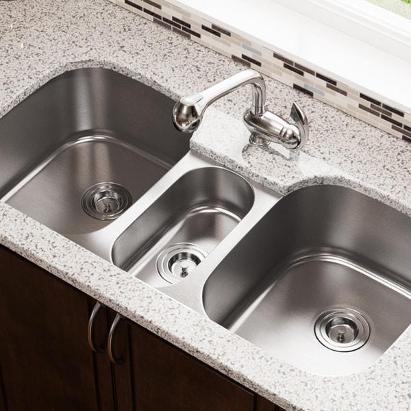 MR Direct 4521 Triple Bowl Stainless Steel Kitchen Sink
