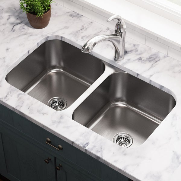 MR Direct 502A Equal Double Bowl Stainless Steel Kitchen Sink - Free ...