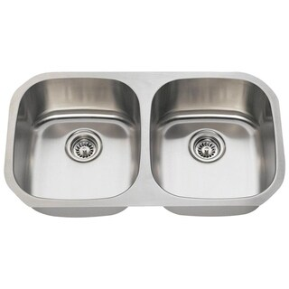MR Direct 502A Equal Double Bowl Stainless Steel Kitchen Sink