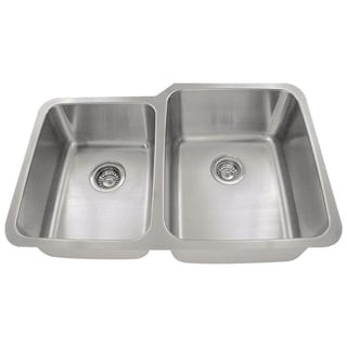 MR Direct 513 Offset Double Bowl Stainless Steel Kitchen Sink