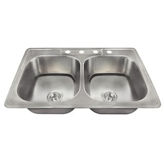 US1022T Topmount Double Equal Bowl Stainless Steel Sink