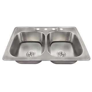 MR Direct US1022T Topmount Double Equal Bowl Stainless Steel Sink