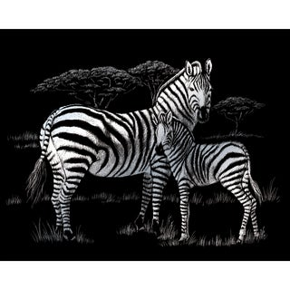 "Silver Foil Engraving Art Kit 8""X10""-Zebras"