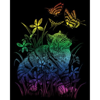 "Rainbow Foil Engraving Art Kit 8""X10""-Kitten & Butterflies"