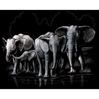 "Silver Foil Engraving Art Kit 8""X10""-Elephant Herd"