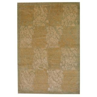 Herat Oriental Indo Hand-knotted Vegetable Dye Tibetan Beige/ Green Wool Rug (6' x 9')