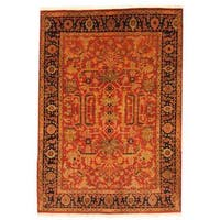 Herat Oriental Indo Hand-knotted Farahan Wool Rug (5'8 x 8') - 5'8 x 8'