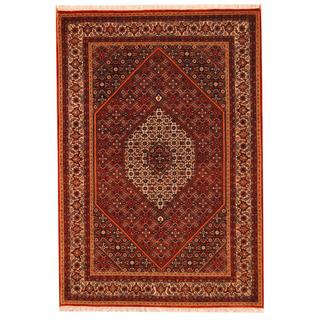 Herat Oriental Indo Hand-knotted Bidjar Red/ Ivory Wool and Silk Rug (5'8 x 8'2)