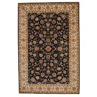 Handmade Herat Oriental Indo Tabriz Wool and Silk Rug  - 6' x 9' (India)