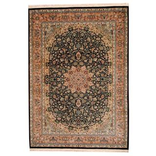 Herat Oriental Indo Hand-knotted Kashmar Black/ Green Wool Rug (6'2 x 8'8)